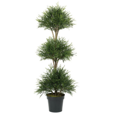 Pine Cedar Ball Triple Topiary  - Artificial Trees & Floor Plants - artificial Christmas triple Topiary Trees for rent