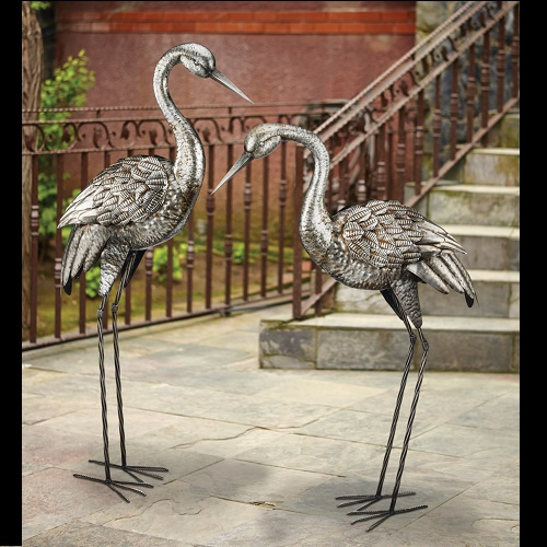 Silver Crane Companions - Idea Gallery - weather resistant bird decorations for outdoor weddings