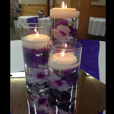 Purple Flower Fillers - Centerpieces & Columns - Cylinder Vase decoration