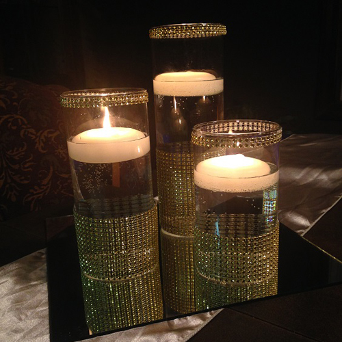 Gold Diamond Wrap - Centerpieces & Columns - Diamond wrap centerpiece Bling