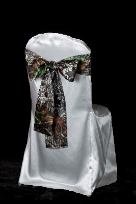 Mossy Oak Chair Sash on White - Events & Themes - Mossy Oak Wedding Chair Sash