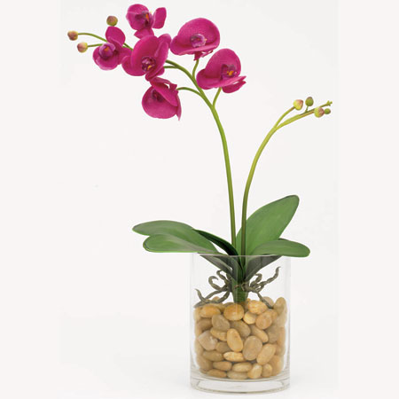 Orchid with Leaves - Artificial floral - Pre-made Magenta Orchid with vase for rent