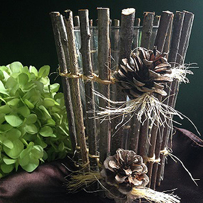 Twig Vase with Pinecones - Centerpieces & Columns - Real Stick vase for rent