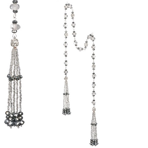 Tassel Silver Glass Bead Garland - Themed Rentals - Garland with Silver Tassels Novelty