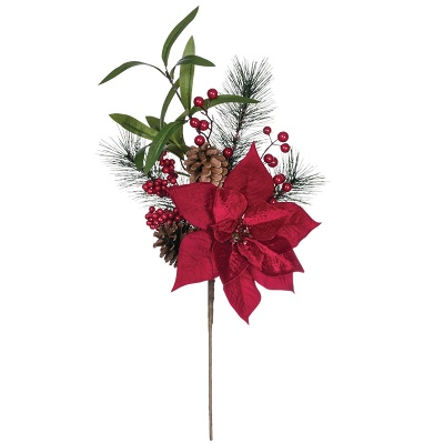 Pine Poinsettia Cone Berry Spray - Themed Rentals - Red Poinsettia Christmas picks bulk sales