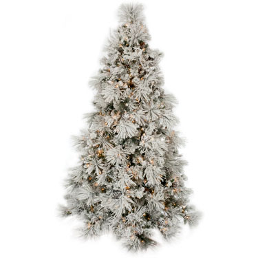 Flocked Long Needle 7.5ft - Artificial Trees & Floor Plants - pre lit flocked Christmas tree