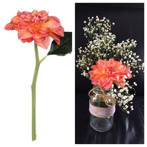 Dahlia - Coral - Artificial floral - faux oral colored flowers for rent