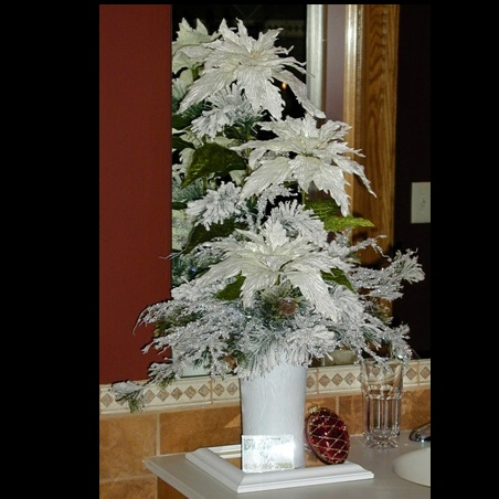 Christmas Centerpiece - White - Themed Rentals - Artificial Christmas Wedding Centerpiece for lease or rent