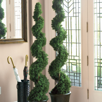 Spiral Cedar Topiary 5' - Artificial Trees & Floor Plants - artificial spiral trees prom rentals